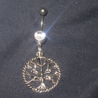 Silver Steel Celtic Tree Of  Life 14 gauge CZ by mysticalserina