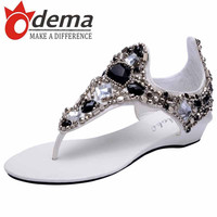 New Bohemian Style Casual Women Sandals Fashion Rhinestone Beaded Flip Flop Flat Thong Summer Beach Shoes