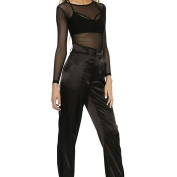 Classic Satin Trousers- BLACK