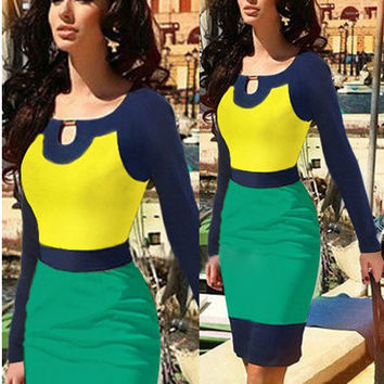 Color Block Keyhole Cutout Long Sleeves Midi Pencil Dress
