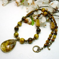 Honey Gold and Brown Gold Tiger Eye Necklace with Tiger Quartz Pendant