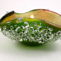 Fused Dichroic Glass Tea Light Candle Holder Sap Green and Pink Coral 007