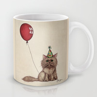 Balloon Love: Kitty Celebration Mug by micklyn