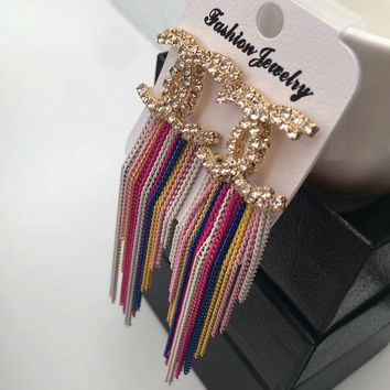 CHANEL Fashion new diamond tassel long section rainbow color earrings accessories women Colourful