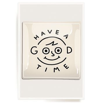 Have A Good Time Decoupage Glass Tray