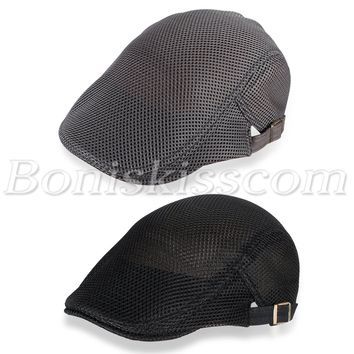 Men's Mesh Breathable Summer Cap Adjustable Gatsby Newsboy Cabbie Beret Flat Hat