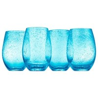 Artland® Iris Stemless Wine Glasses in Turquoise (Set of 4)