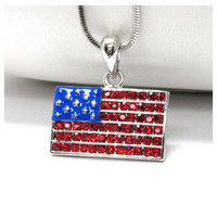 """Patriotic Me"" Stars and Stripes Rhinestone Accented American Flag Necklace"