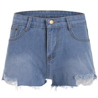 Denim Ripped Mini Shorts