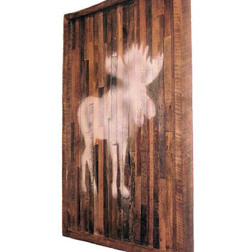 ON SALE Reclaimed Wood Wall Art - Barn Wood Wall Hanging - Moose Silhouette Wall Art - Dimensional Wall Art