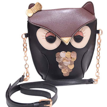 Owl Designed Faux Leather Bag