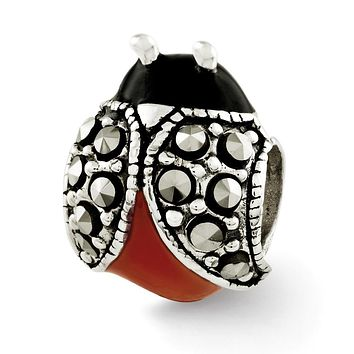 Sterling Silver, Enamel and Marcasite Ladybug Bead Charm