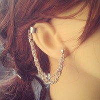 Simple Chained Ear Cuff - Earring Stud, Silver plated, Chain