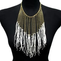 Great Gatsby Tassels Fringe White Gold Collar Necklace Applique