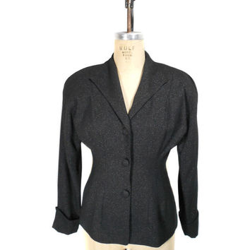 1940s Style Taiga Paris Fitted Blazer - 1980s - Black Shimmer Lurex - Office Fashion - Size 6