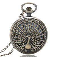 Fashion Hollow Bronze Peacock Design Bronze Case Quartz Fob Pocket Watches with Necklace Chain for Girls Women Ladies Gift
