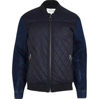 Navy Denim Hybrid Bomber Jacket