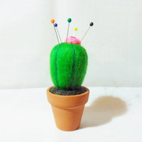 Needle Felted Cactus - felt cactus - 100% merino wool - needle felted pin cushion - cactus pin cushion