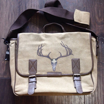 Laptop Messenger Bag with Hand Painted Deer Horns and Skull