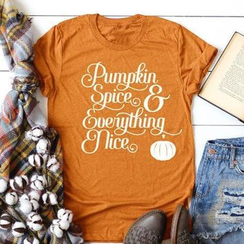 Pumpkin spice everything nice t-shirt Halloween funny fashion cotton graphic tees vintage kawaii cute slogan women unisex tops