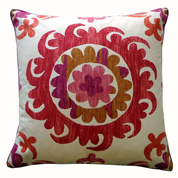 Ayo 24x24 Cotton Pillow, Pink, Decorative Pillows