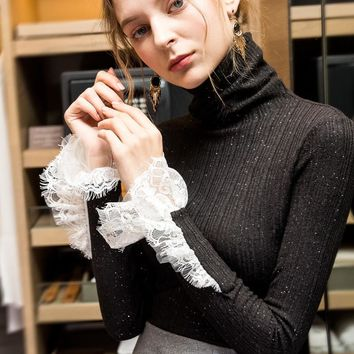2018 Winter Long Sleeve High Collar Lace Deco Knitted T-shirts Women Fashion Turtleneck Knitted Pullovers Lady Winter Knit Tops
