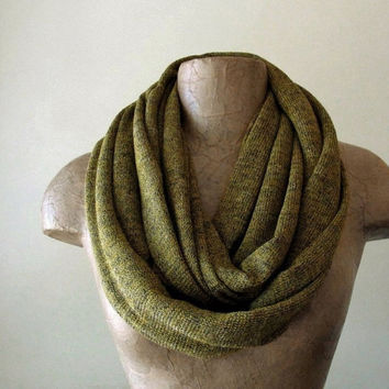 Ochre and Grey Infinity Scarf  Sweater Scarf  Dark by EcoShag