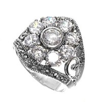 High Fashion Sterling Silver Nature Flower Design Marcasite Ring with Clear CZ