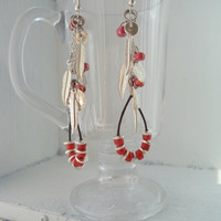 Red x Silver Earrings // Silver Coins // Silver Feathers // Leather // Sterling Silver Earrings // Gifts for Women