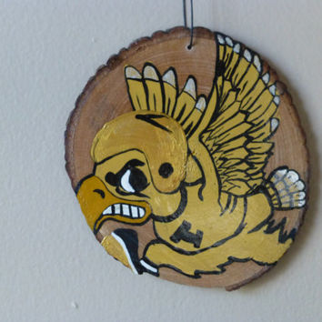 Ready to Ship:  Iowa Hawkeye Ornament made from a wood log slice, hand painted, rustic