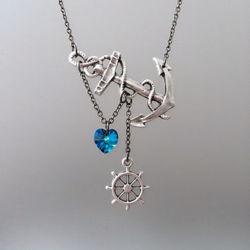 Lost Heart at Sea Necklace by SBC Silver Plated Anchor Bermuda Blue Swarovski Crystal Heart Silver Ship Wheel Gunmetal Chain Made to Order