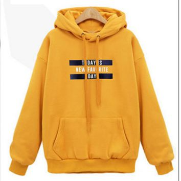 New style letters print pullovers sweater Yellow