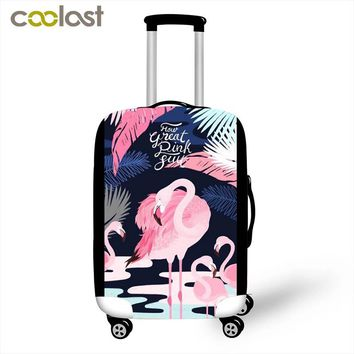 Beautiful Flamingo Luggage Protective Cases for 18-28 Inches Suitcase Elastic Hard Case Cover for Animals Dense Dust Rain Cover