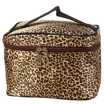 Leopard Print Cosmetic Bags Women Travel Makeup Bag Make Up Bags