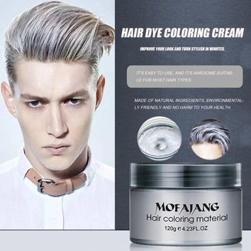 MOFAJANG Salon Hair Styling Pomade Silver Ash Grandma Grey Hair Waxes Temporary Disposable Hair Dye Coloring Mud Cream Unisex