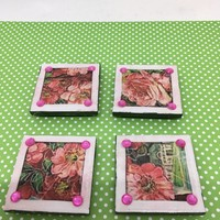 Magnets Ceramic Tile Cottage Chic Decor Victorian Decor 2 by 2 Inch SET OF 4