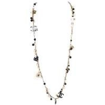 Chanel Pearl & Black Beaded & Iconic Charm Necklace