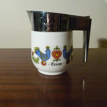 "Vintage 1970s Gemco ""Country Festival"" 1 Cup Serving Creamer / Retro Milk Glass ""Cream"" / Milk Jug / Silver Plastic Handle and Spout"