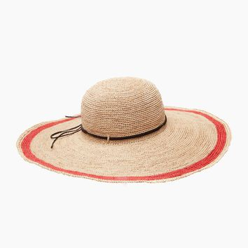 Tori Crocheted Raffia Sun Hat With Leather Trim & Cotton Sweatband - Coral