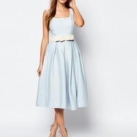Chi Chi London Round Neck Midi Prom Dress with Box Pleats at asos.com
