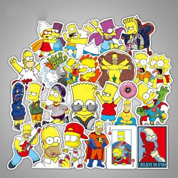 50Pcs Simpsons Stickers for DIY Decals Graffiti Laptop Guitar Luggage Suitcase Skateboard Motor Car Sticker Toys for Children