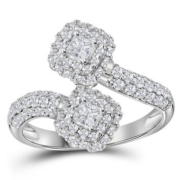 14kt White Gold Womens Princess Diamond 2-stone Bypass Bridal Wedding Engagement Ring 1.00 Cttw