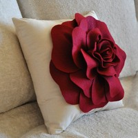 Ruby Red Rose on Cream Pillow 14x14 by bedbuggs on Etsy