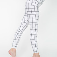 Grid Print Nylon TricotHigh-Waist Leggings