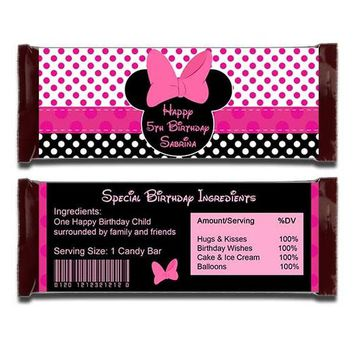 Minnie Mouse Full Size Candy Bar Wrapper, Polka Dots Minnie Chocolate Bar Wrapper, Pink Minnie Mouse Printable Birthday Party Favor Wraps