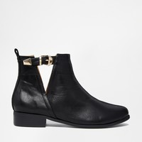Daisy Street Black Cut Out Buckle Boots