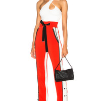David Koma Side Snap Trouser Pants in Red, White & Black | FWRD