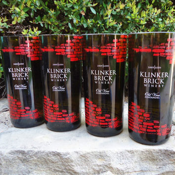 Recycled Wine Bottle Glasses Klinker Brick Winery Zinfandel Set of 4
