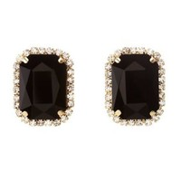 Black Faceted Stone Statement Earrings by Charlotte Russe