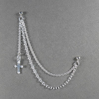 Cross Double Piercing Cartilage Earring With Chain In Sterling Silver 925 Single Earring